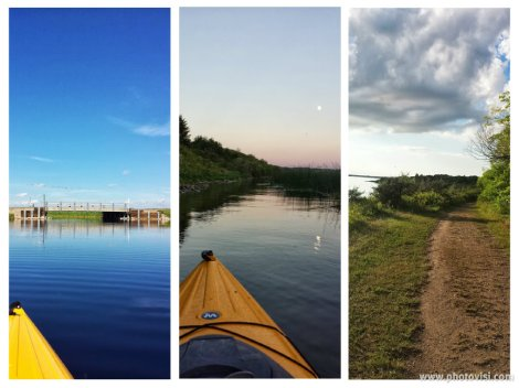 Kayaking with my mom in the mid-day sun, with my dad in the evening, and the walking path at the park